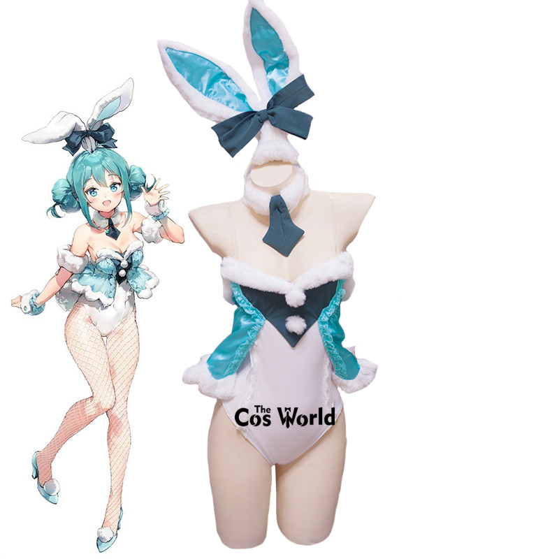 Vocaloid Miku White Rabbit Bunny Girl Bodysuit Jumpsuits Uniform Outfit Anime Customize Cosplay Costumes