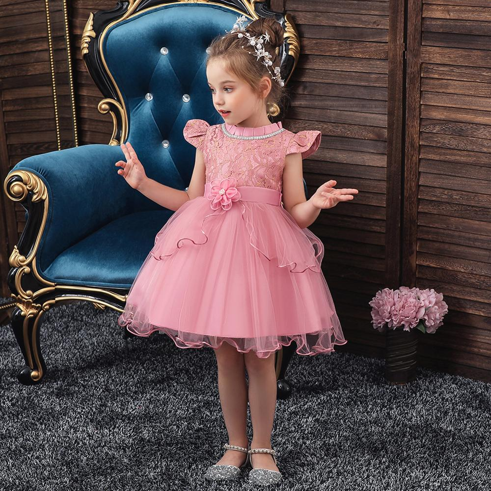 2019 High Quality Puffy Sleeves Girls Evening Party Dress Children Elegant Applique Flower Girls Dress Vestido Comunion
