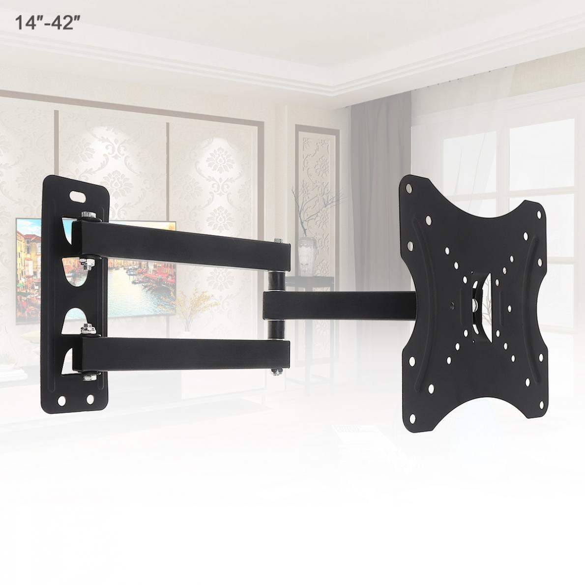35KG Adjustable TV Wall Mount Bracket Flat Panel TV Frame Support 15 Degrees Tilt with Level 14-42 Inch LCD LED MonitorFlat Pan