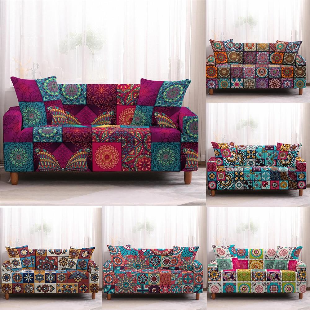 Didi bohemia mandala padrão decoração capa de sofá sala de estar trecho não-deslizamento capa de sofá lavável elástico slipcover protector