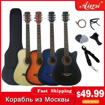 Aiersi full pack 38 inch steel string basswood colour travel folk acoustic guitar Free Extra string capo pick strap bag acoustic custom guitar 41 inch full size 6 string basswood with guitar kit from us