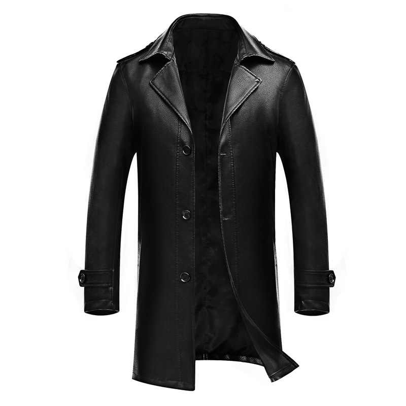 Grote Mannen Boutique Lederen Kleding Herfst Pak Kraag Lederen Windjack Business Casual Cape Leather Cover Trend