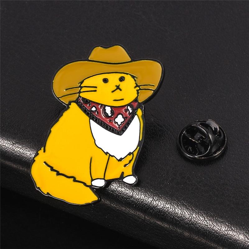Cowboy Cat Yellow Enamel Pin Mr Cat Meowdy Cute Western Kitty Collection Happy