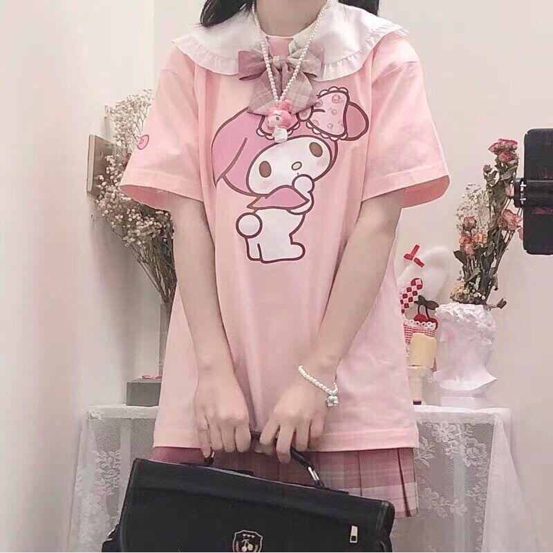 Летняя Милая футболка для девочек с японским мультяшным принтом и короткими рукавами, свободная Мягкая Милая футболка для девочек с розовым кукольным воротником, Женская Студенческая одежда