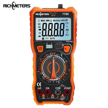 RICHMETERS multímetro Digital 118C, 6000 recuentos, 20A, NCV, HFE True RMS, 100mF, imán de capacitancia, voltaje CA/CC, temperatura de corriente