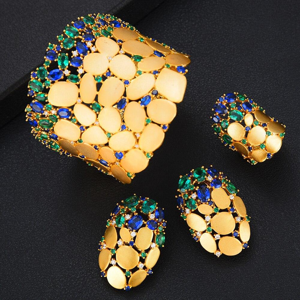 GODKI nouveau Design de luxe 3PC Bracelet anneau boucle d'oreille ensemble pour les femmes de mariage de mariée cubique zircone Dubai fête de mariage bijoux BOHO