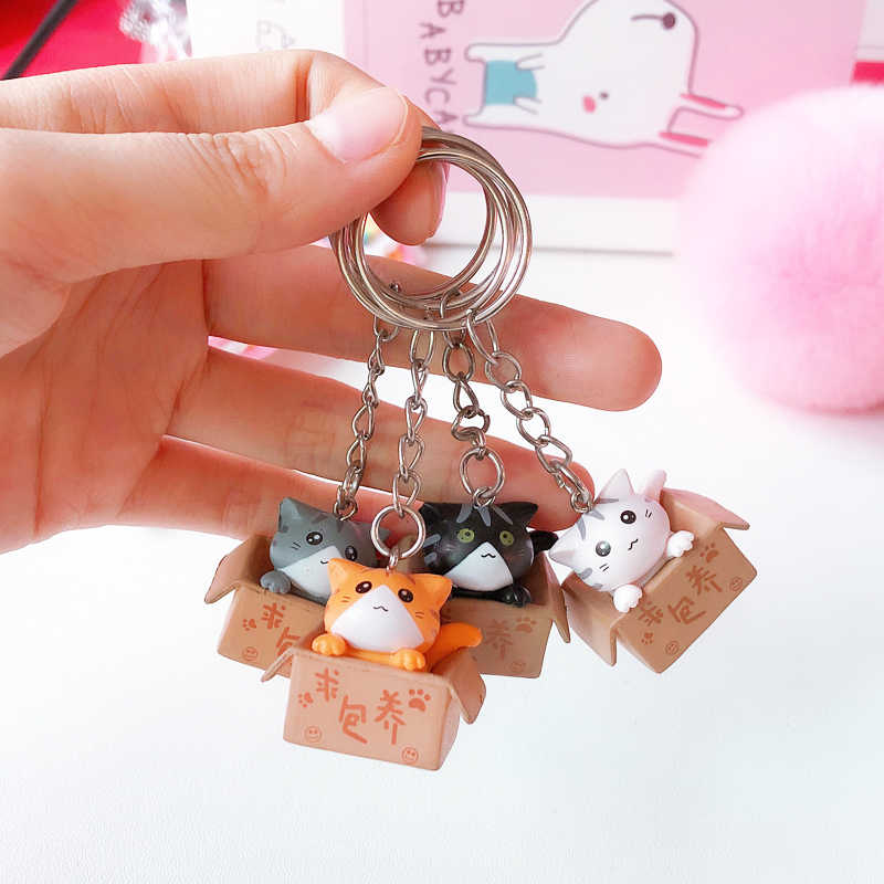 Cute Cat Keychain Cartoon Lucky Cat Keychain Self Defense Porte
