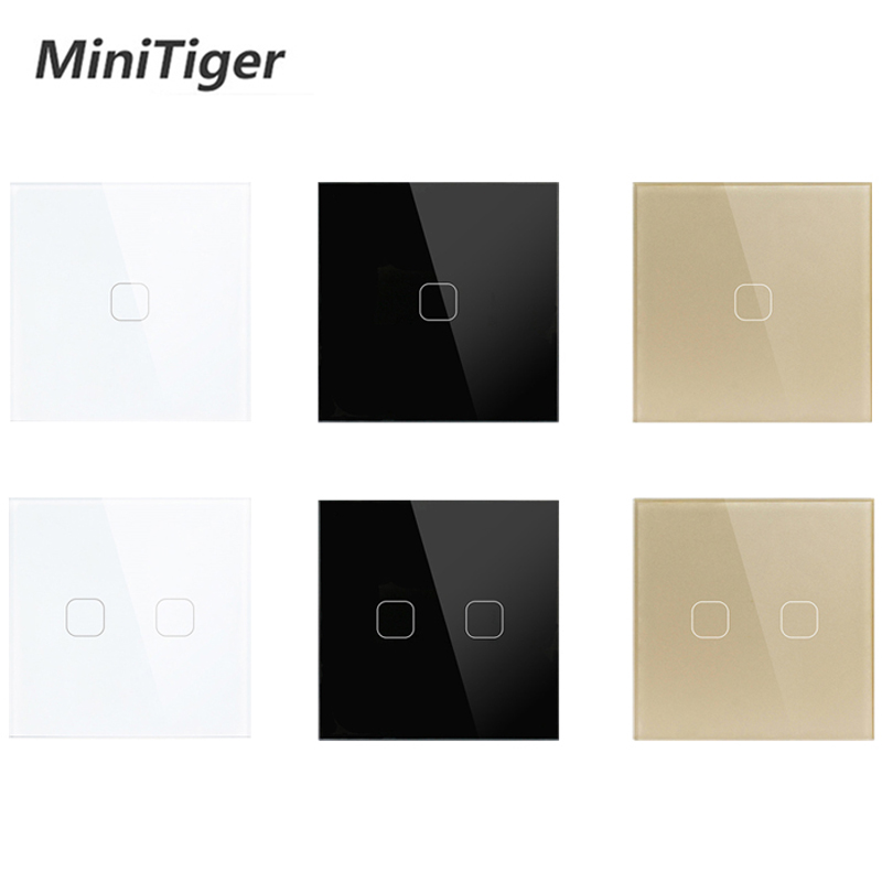 Touch Switch EU/UK standard White Crystal Glass Panel Touch Switch, AC220V,1 Gang 1 Way, EU Light Wall Touch Screen Switch