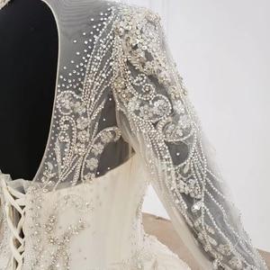 Image 5 - HTL1094 אלגנטי חתונת שמלות לבנון גבוהה צוואר מלא שרוול כדור שמלת אפליקציות תחרת הכלה שמלת שמלת ארוך רכבת gelinlikler