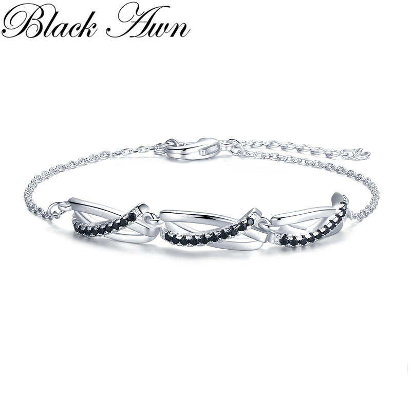 [BLACK AWN] 2020 New 925 Sterling Silver Charm Bracelet Women Wedding Jewelry S006