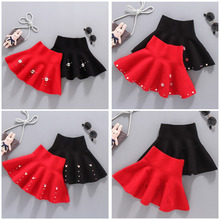 High Waist School Girl Knitted Skirt Fashion Clothes Solid Color Tutu Kids for Winter Skirts 4 5 7 9 11 13T