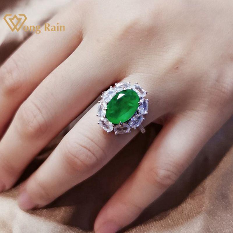 Wong Rain Vintage 925 Sterling Silver Emerald Ruby Citrine Gemstone Engagement Wedding Adjustable Ring Fine Jewelry Wholesale