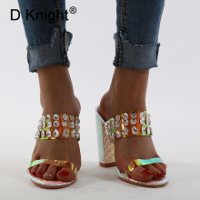 Rhinestone Chunky Heel Women Slippers Colorful High Heel Sandal Shoes For Woman New 2020 Summer Outside Sexy Ladies Slides Shoes bling bling high heel crystal decked slide sandal gorgeous glittering slippers summer women shoes sexy black outside slippers