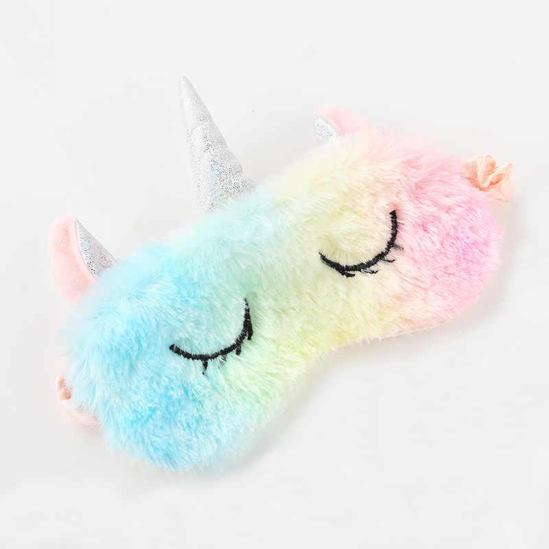 Yeni parti Unicorn boynuz göz maskesi karikatür çeşitli uyku maskesi peluş kapak siperliği Relax maskesi seyahat için uygun ev hediyeler
