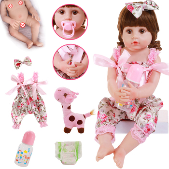22inch 56cm Full Silicone Rebirth Doll Floral Style Clothes Straight Bend Down Toddler Baby Bath Toy
