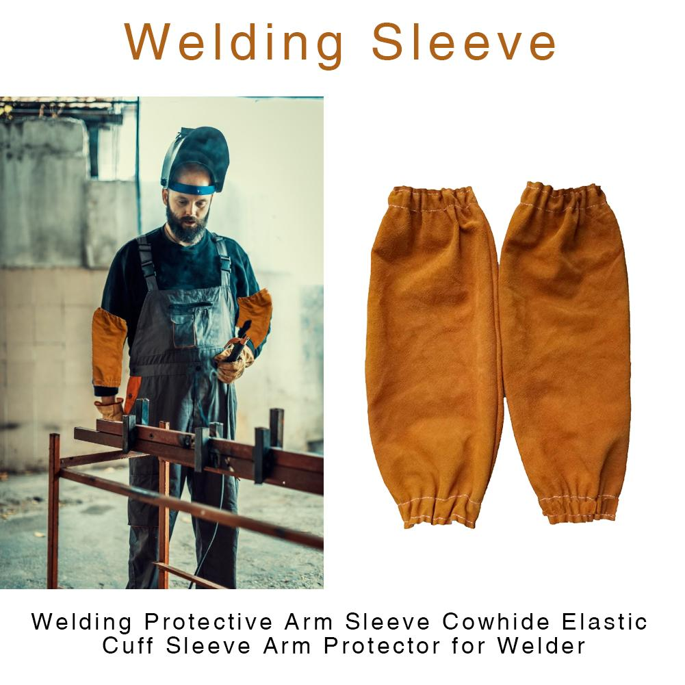 Sleeve Bilateral Elastic Cuff Arm Protector Leather Work Heat Protection Armband Welder Cuff Welding Sleeves