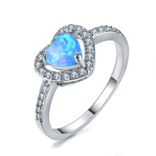 boho female blue opal stone ring dainty round crystal silver wedding rings for women cute bridal love heart engagement ring Classic Female Blue Opal Stone Ring Elegant Crystal Silver Wedding Rings For Women Cute Bridal Love Heart Engagement Ring