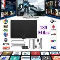 Fibre de carbone 180 Miles antenne TV intérieure HDTV antenne numérique HD antenne 4K HD Freeview canaux locaux amplificateur amplificateur Signal Booster