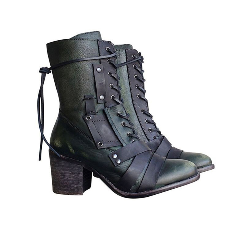 Fashion New Women Boots Retro Pu Leather Lace Up Mid-Calf Boots Solid Color Square Heel Woman Shoes Boots Plus Size Zapatos Muje