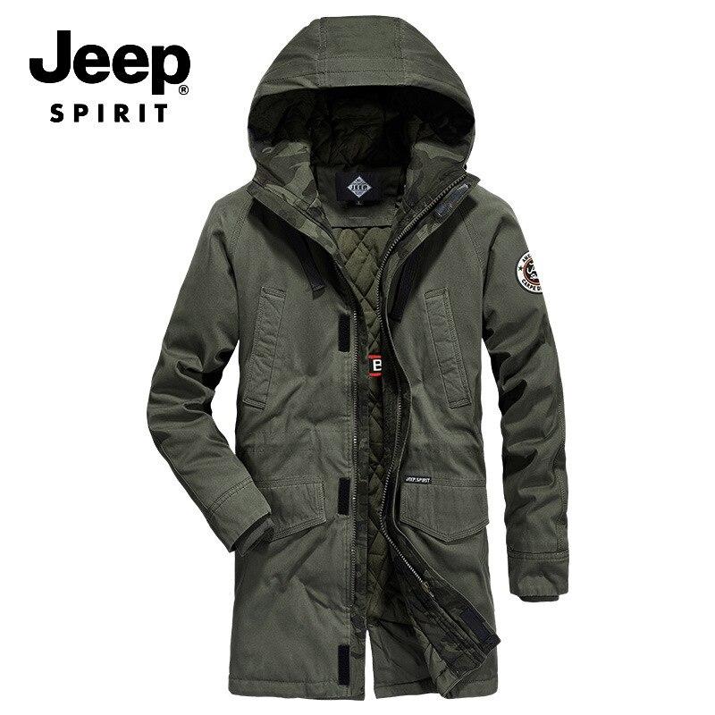 JEEP SPIRIT Brand Winter Parka Jacket Men Fashion Hooded Collar Windbreaker Thick Warm Winter Coat Men Plus Size M-4XL Parkas