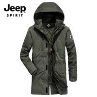 JEEP SPIRIT Brand Winter Parka Jacket Men Fashion Hooded Collar Windbreaker Thick Warm Winter Coat Men Plus Size M 4XL Parkas