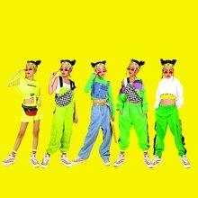 Костюмы для джазовых танцев; Новая одежда в стиле хип-хоп; Детская уличная одежда флуоресцентной серии для девочек; костюм черлидеров; DQS2690