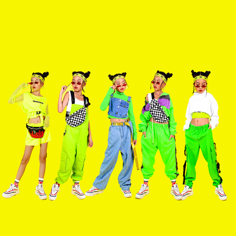2019 Jazz Dance Costumes New Hip Hop Clothing Kids Fluorescent Series Street Wear For Girls Cheerleader Costume Outfits DQS2690