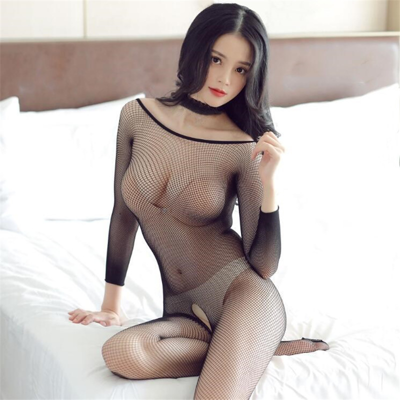 Sexy Lingerie Charming Siamese Net Stockings Black Mesh Body Stocking Perspective Hollow Tights Women Siamese Net Clothing New