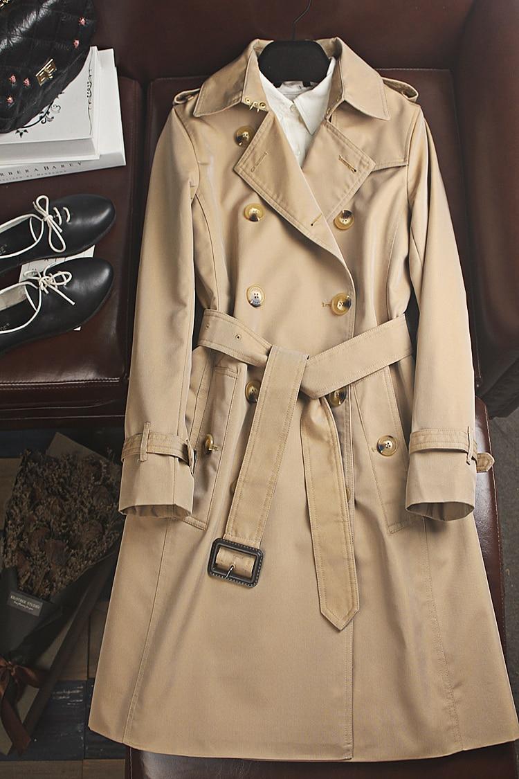 Модный Женский Тренч Obrix, осенне-весенний Тренч из хлопка высокого качества, длинное однотонное пальто для женщин