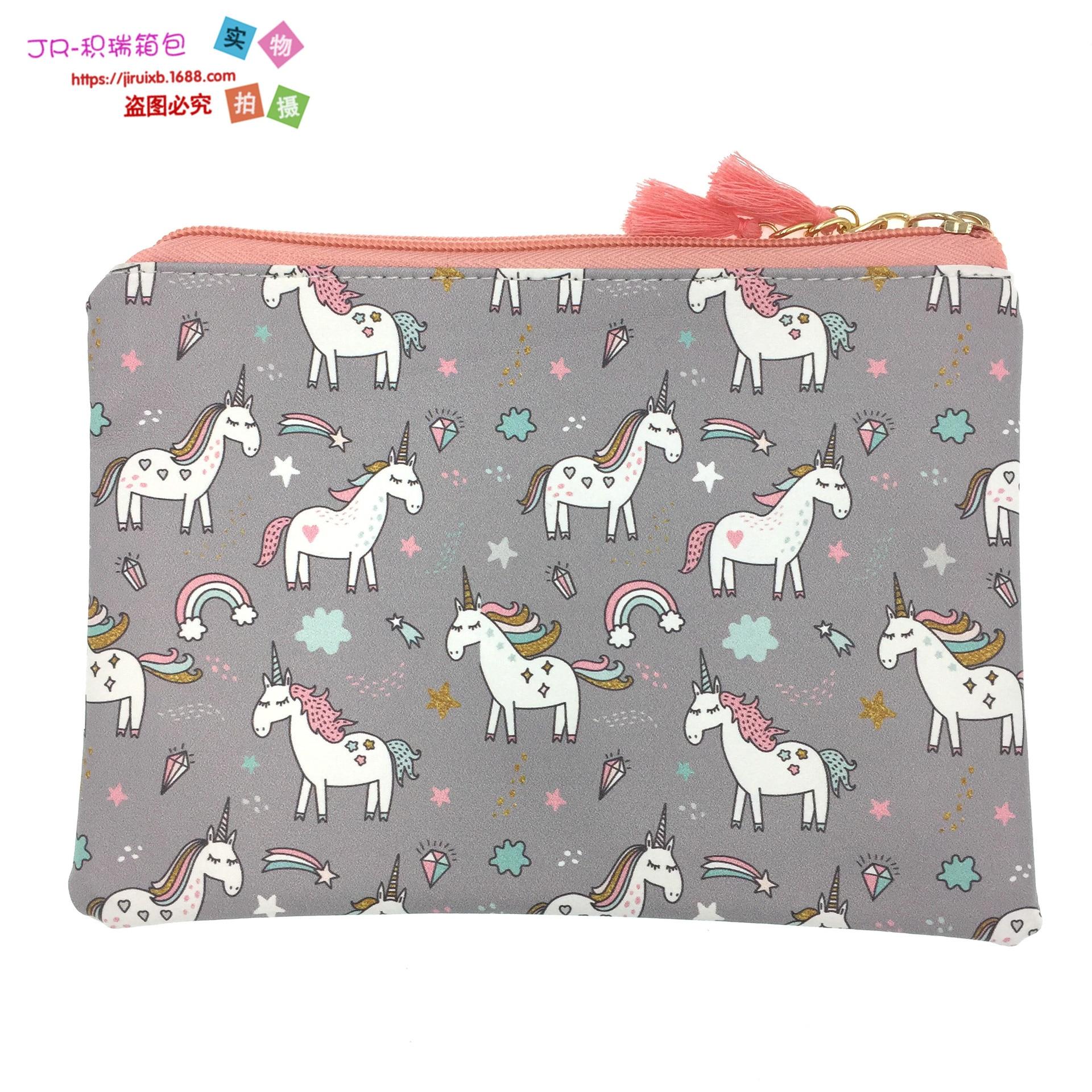 2018-Europe And America Hot Sales Unicorn PU Purse Document Package Tassels Cosmetic Bag Clutch Batch