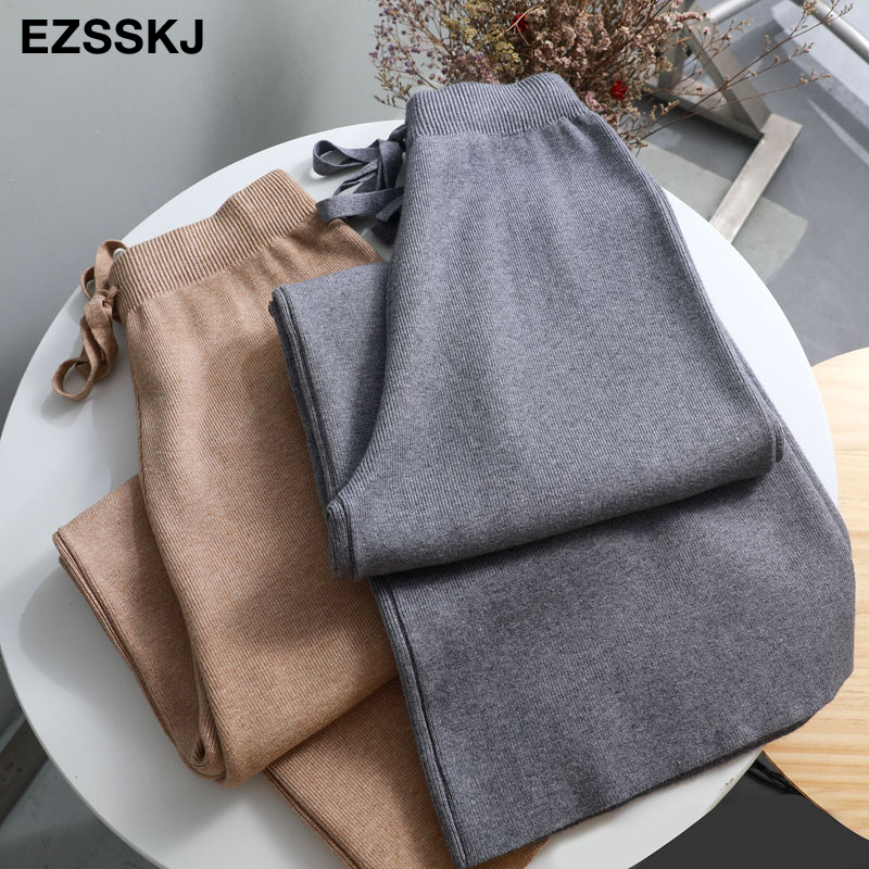 2019 autumn winter new THICK casual straight pants women female drawstring loose knitted wide leg pants casual Trousers 2