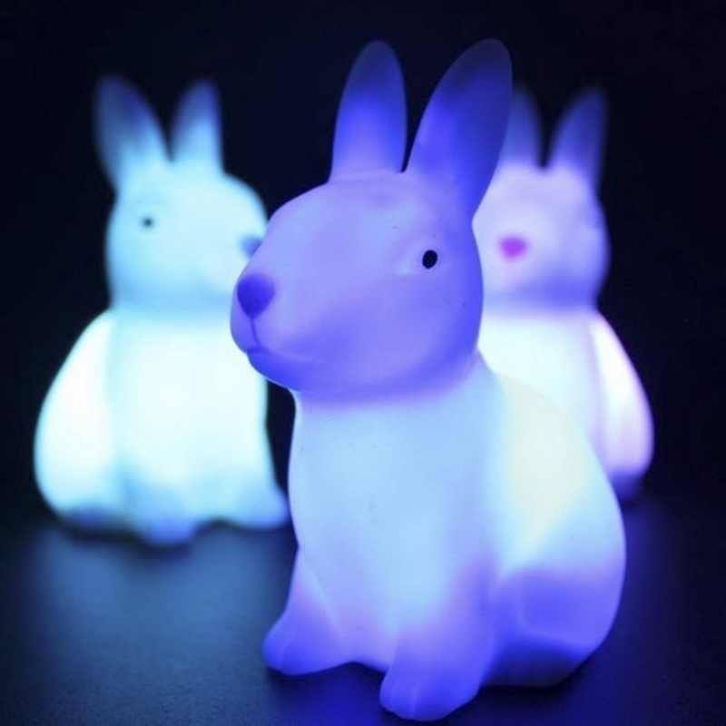 Dozzlor פיל ארנב זבד LED לילה LightLamp צבע שינוי אווירה עבור ילד תינוק המיטה שינה קישוט חמוד מנורה