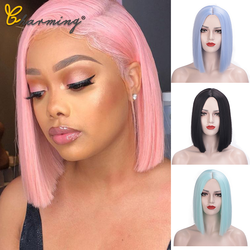 CHARMING Traight Black/Pink Synthetic Wigs For Women Medium Length Hair Bob Wig Heat Resistant Bobo Hairstyle Cosplay Wigs