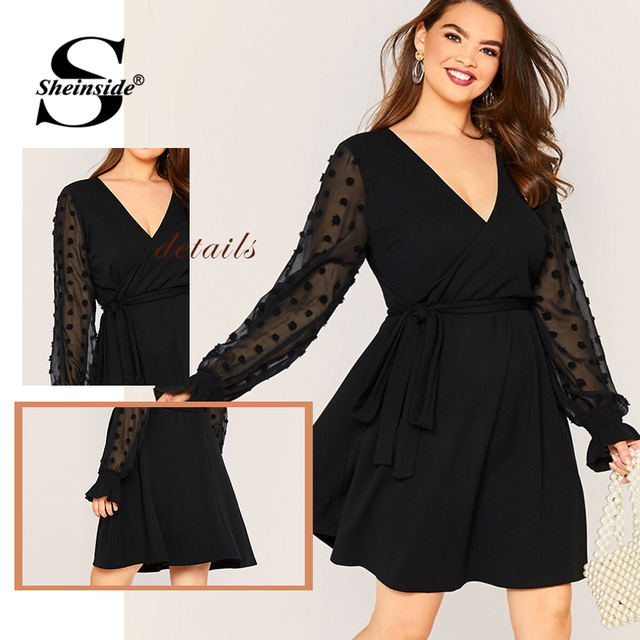 Sheinside Plus Size Elegant Black Dot Mesh Sleeve A Line Dress Women 2019 Autumn Flounce Sleeve V Neck Wrap Belted Dresses 5