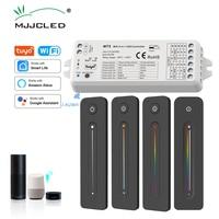 MJJC Tuya LED Controller 12v 24v 5 in 1 Dimmer RGB CCT RGBW RGBWW RGBCCT Streifen Licht Smart leben Wifi 2,4G RF Wireless Remote WT5