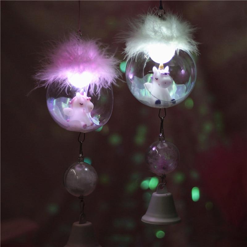 Resin LED Unicorn Night Light Carton Unicorn Lamps Wind Chimes  Romantic Decor Lamps Cute Birthday Chrismas Gift For Children