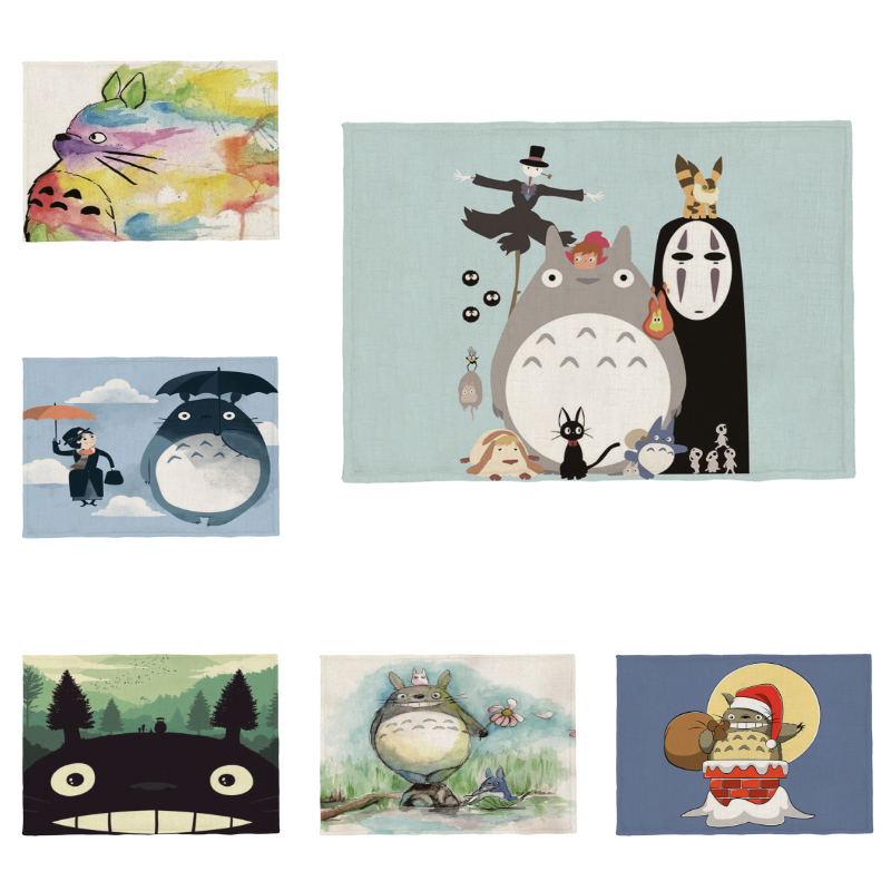 Anime Cheap Kids Placemat Kitchen Dining Table My Neighbor Totoro Coaster Christmas Polyester Hemp Can Be Customized 32 * 45