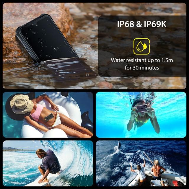 "UMIDIGI BISON 6.3"" FHD+ Display IP68/IP69K Waterproof Rugged Phone 6GB 128GB Smartphone 48MP NFC Android 10 5000mAh Mobile Phone 4"