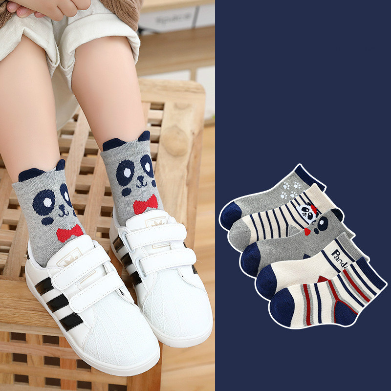 5Pair/lot Children Cotton Boys Girls Socks Cute Cartoon Pattern Kids Socks For Baby Boy Girl Sport Style Suitable For 1-10Y 4