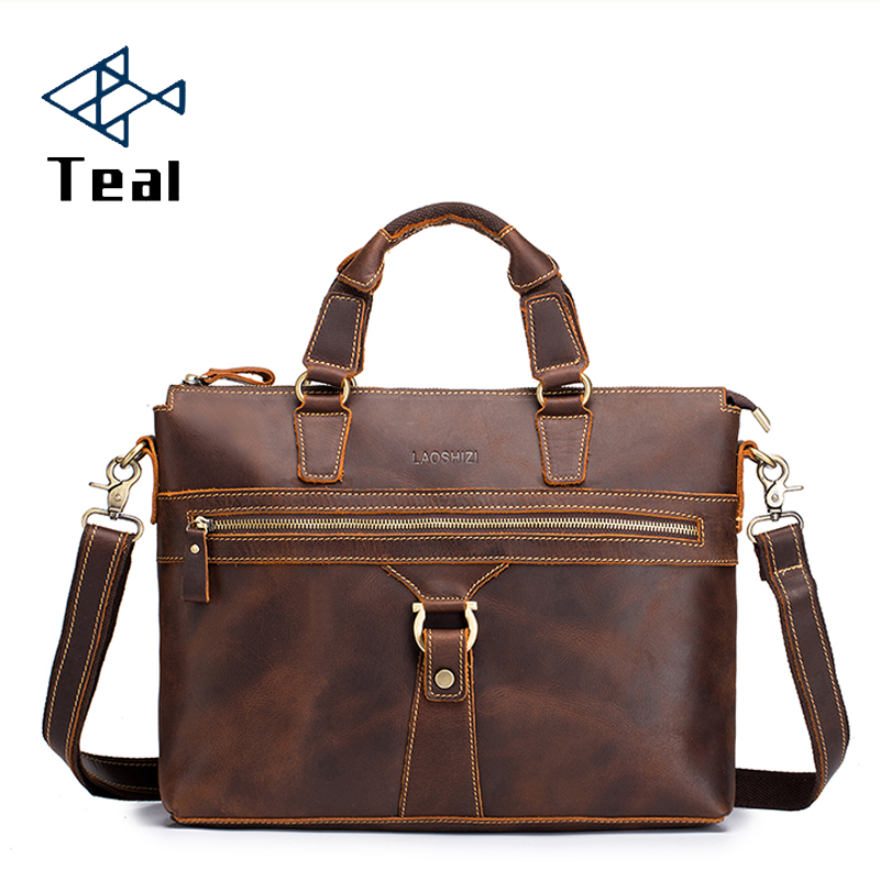 Men Leather Genuine Leather Briefcase 14inch Laptop Briefcase Crossbody Satchel Bag For Men Messenger Bags