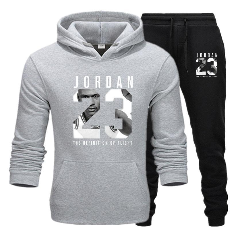 2019 Brand Tracksuit Fashion JORDAN 23 Print Men Sportswear Pullover Two Sets Leisure Fleece hoodies +Pants Sporting Suit Male  (3)