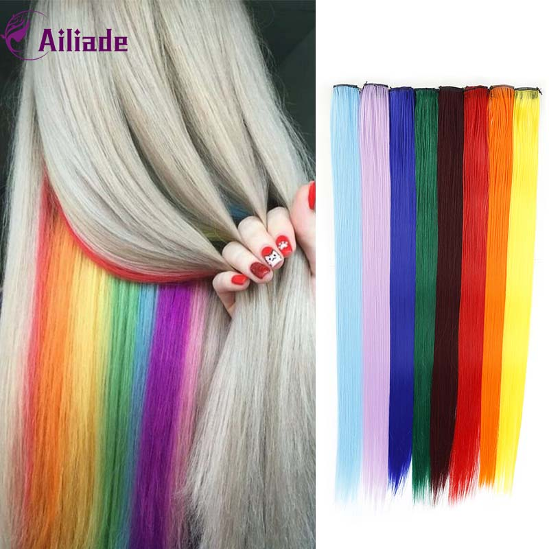 AILIADE Long Straight Color Hair Piece Hair Extensions Clip Rainbow Hair Streak Purple Pink Blue Synthetic Hair Strands On Clips