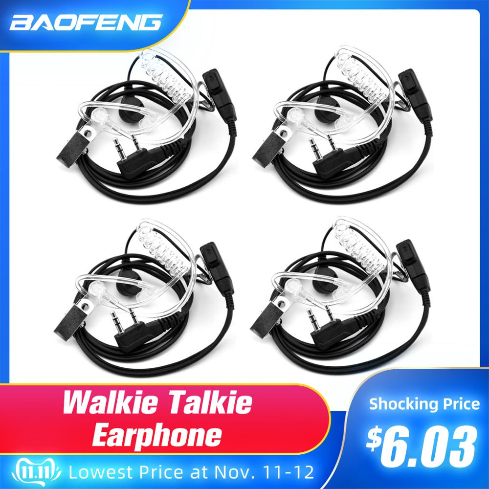 2PCS Walkie Talkie Earphone Air Acoustic Tube Earpiece Baofeng Radio 2 Pin PTT Transparent Headset Microphone K Port UV-5R