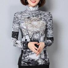 Женские блузки, элегантные, размера плюс 6XL, зимние, плотные, теплые, с высоким воротом, с принтом, женские блузки, рубашки, женские топы, плюс вельветовые Блузы
