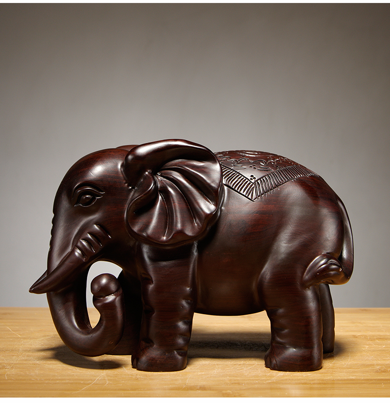 Ebony Wood Carving Elephant Ornament Solid Wood Carving Furniture Porch Office Decoration Crafts