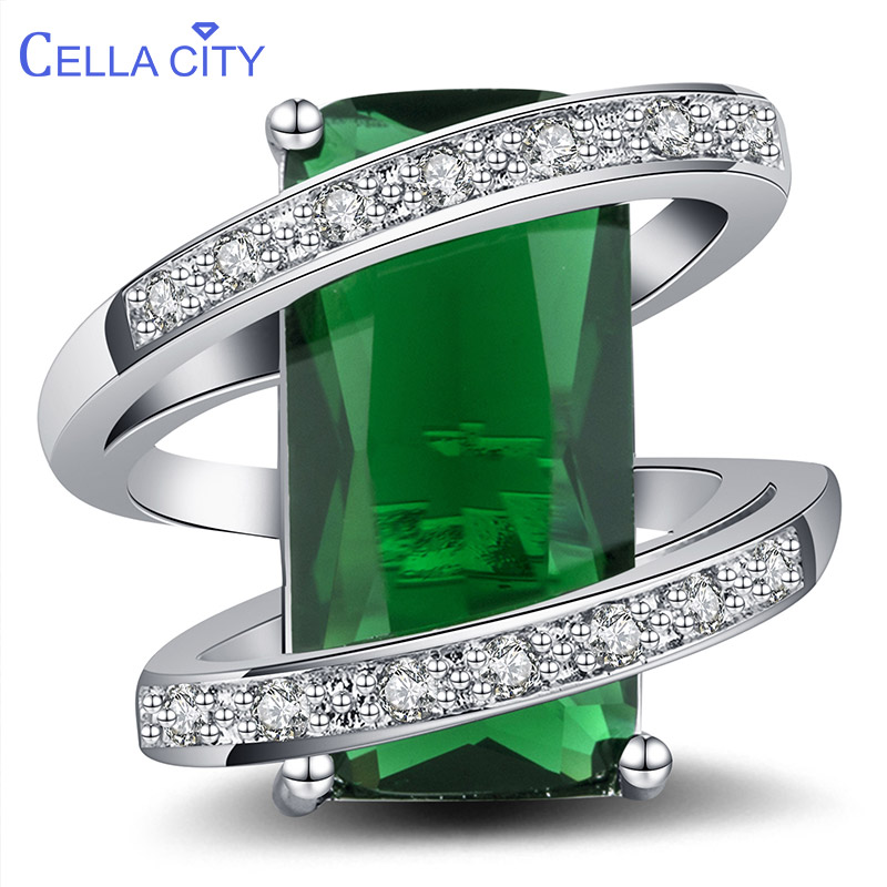 Cellacity 925 Silver Ring For Women With 10*20mm Rectangle Emerald Gemstones Silver Jewelry Anniversary Party Gift Size 6-10