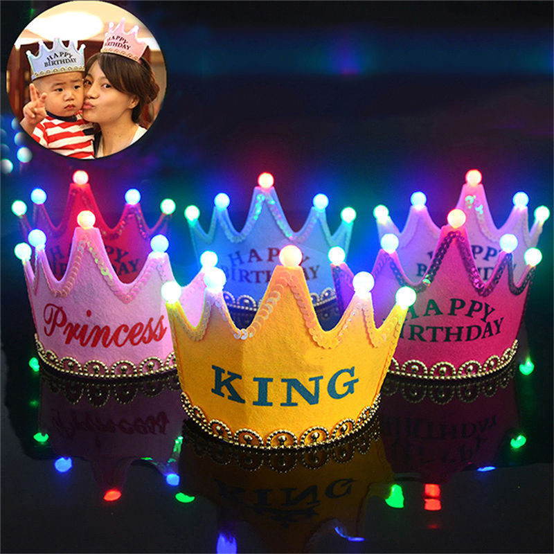Baby Kids Adult Crown Light-Up LED Blinking Flashing Headbands Party Favors Birthday Princess King Hair Accessories