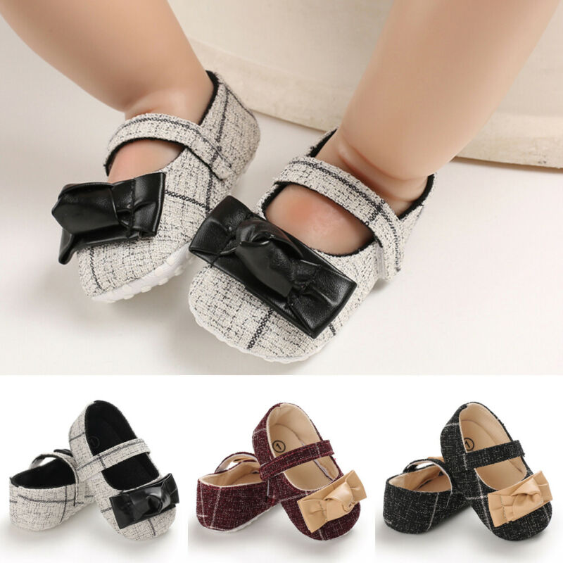 Newborn Baby Girl Crib Shoes Bowknot Soft Princess Cotton Crib Shoes Anti-slip Sneaker Prewalker