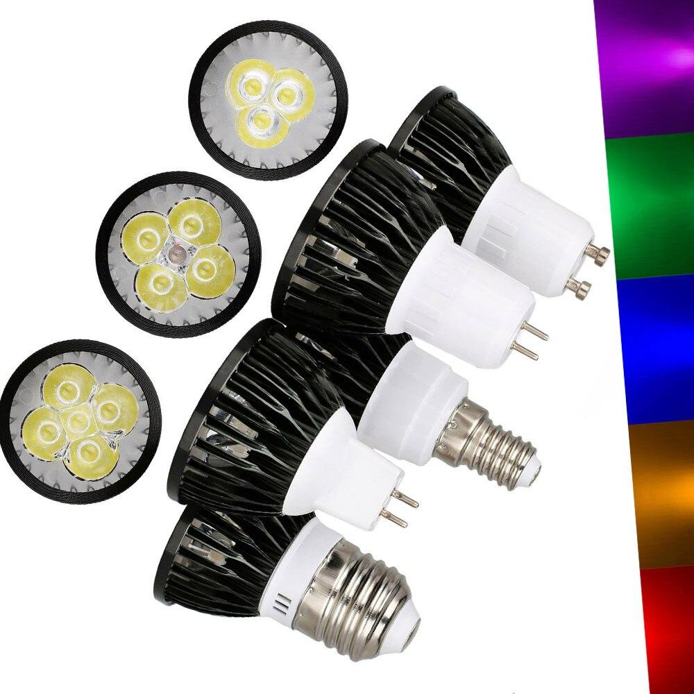 LED Lamp 9W 12W 15W GU10 MR16 GU5.3 E27 E26 E12 LED Bulbs Led Spotlight Red Yellow Blue Green Purple Lampada 85-265V 12V
