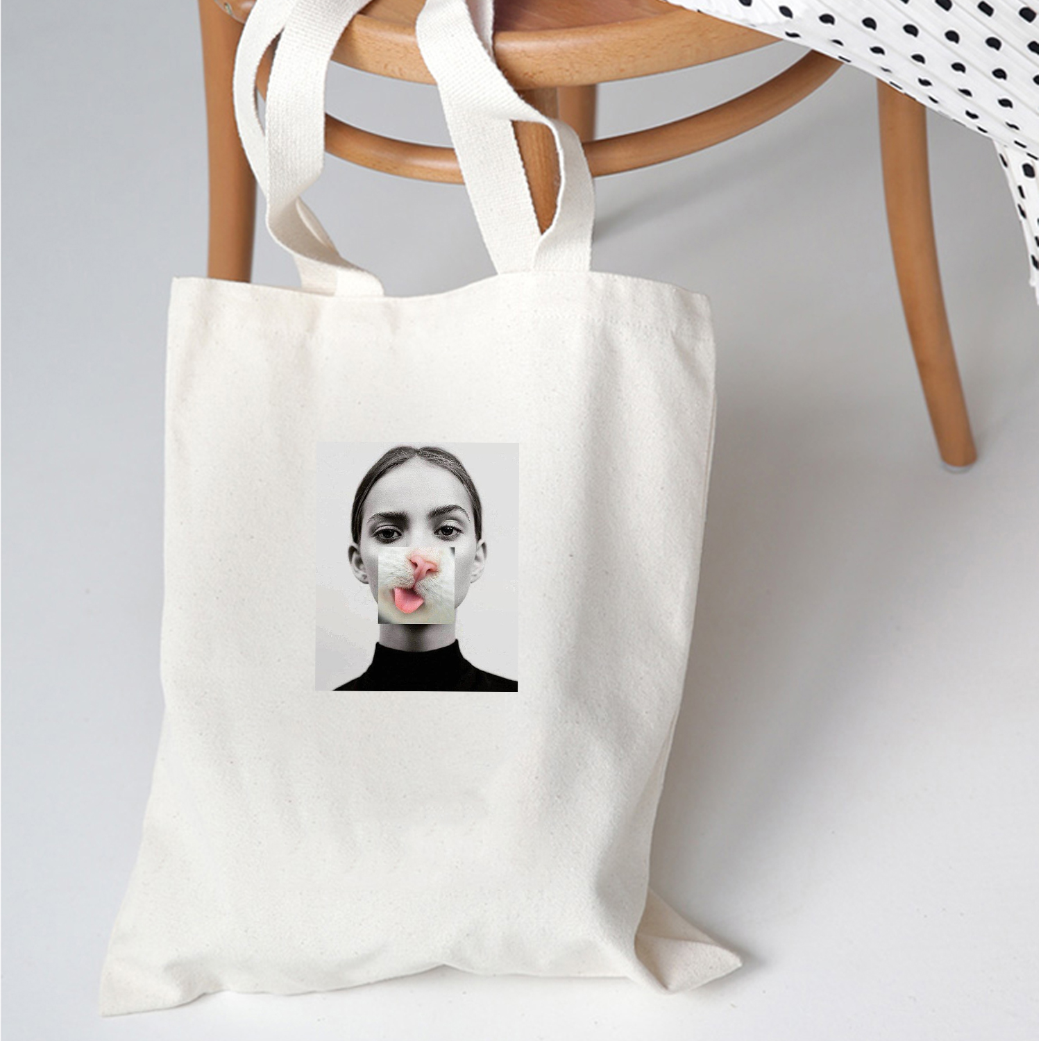 Funny Picture Print Women Shopping Bag Female Canvas  Shoulder Bag Environmental Storage Handbag Reusable Foldable Cool Totes